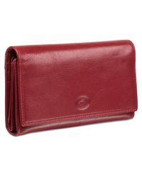 Mancini Red Equestrian-2 Collection Rfid Secure Trifold Checkbook Wallet