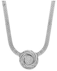 Wrapped in Love | Metallic Tm Diamond Pave Pendant Necklace In Sterling Silver (1 Ct. T.w.) | Lyst