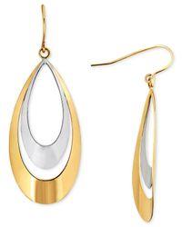 Macy's - Metallic Two-tone Double Teardrop Drop Earrings In 10k Gold - Lyst