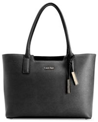 CALVIN KLEIN 205W39NYC Black Saffiano Leather Tote