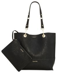 CALVIN KLEIN 205W39NYC - Brown Sonoma Reversible Novelty Tote With Pouch - Lyst