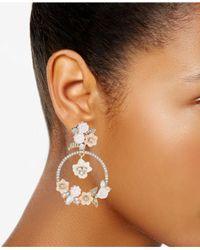 Marchesa - Metallic Gold-tone Bead & Flower Drop Hoop Earrings - Lyst