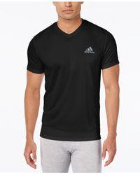 adidas Synthetic Men's V-neck Climalite T-shirt in Black for Men ...