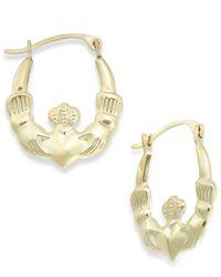 Macy's Metallic Claddagh Hoop Earrings In 10k Gold