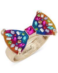 Betsey Johnson - Multicolor Gold-tone Multi-stone Rainbow Hinged Bangle Bracelet - Lyst