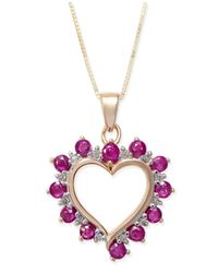 Macy's Metallic Ruby (1 Ct. T.w.) & Diamond Accent Heart Pendant Necklace In 14k Gold