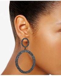 INC International Concepts | Multicolor Jet-tone Pavé Gypsy Hoop Earrings | Lyst