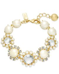 Kate Spade - Metallic Gold-tone Imitation Pearl & Crystal Link Bracelet - Lyst