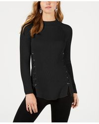 Style & Co. Black Lace-up Mock-turtleneck Sweater, Created For Macy