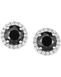 Arabella Metallic Zirconia Halo Stud Earrings In Sterling Silver