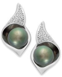 Macy's - Green Cultured Tahitian Pearl (8mm) And Diamond Accent Stud Earrings In Sterling Silver - Lyst