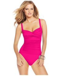 La Blanca   Pink Ruched Twist-front One-piece Swimsuit   Lyst