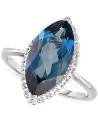 Macy's London Blue Topaz (5 Ct. T.w.) & Diamond Accent Ring In 14k White Gold