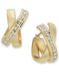 Macy's | Metallic 14k Gold Earrings, Diamond Accent X Hoop Earrings | Lyst
