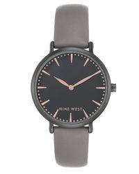 Nine West - Women's Gray Faux Leather Strap Watch 43mm - Lyst