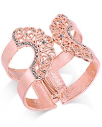 INC International Concepts - Pink Pavé Lace Hinged Cuff Bracelet - Lyst
