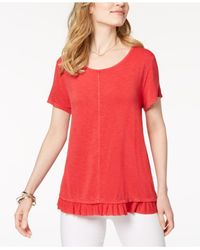 Style & Co. Red Ruffled-hem Top, Created For Macy