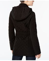 Laundry by Shelli Segal - Black Quilted Toggle Coat - Lyst