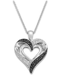 Macy's Metallic Black And White Diamond Heart Pendant Necklace In Sterling Silver (1/2 Ct. T.w.)
