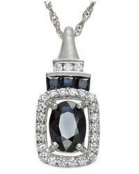 Macy's - 14k White Gold Necklace, Sapphire (1 Ct. T.w.) And Diamond (1/5 Ct. T.w.) Pendant - Lyst