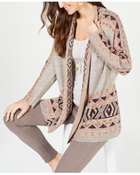 Style & Co. Multicolor Geometric Jacquard-knit Sweater Coat, Created For Macy