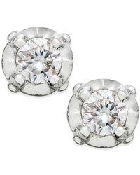 Macy's - Metallic Diamond Stud Earrings In 10k White Gold (1/10 Ct. T.w) - Lyst