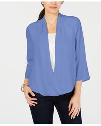 Charter Club Blue Surplice Top, Created For Macy