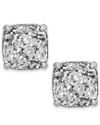 Kate Spade - Silver-tone Metallic Glitter Stone Stud Earrings - Lyst