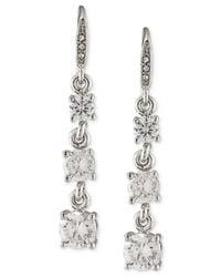 Carolee - Metallic Silver-tone Graduated Crystal Linear Drop Earrings - Lyst