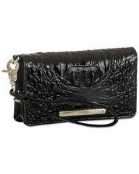 Brahmin Black Melbourne Debra Embossed Leather Wristlet