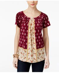Style & Co. - Red Printed Pleated Top - Lyst
