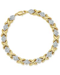 Macy's - Metallic Diamond Accent Hearts And Kisses Link Bracelet In 18k Gold Over Fine Silver-plate - Lyst