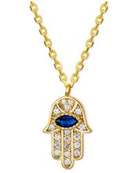"Giani Bernini Metallic Cubic Zirconia Hamsa Hand Pendant Necklace In 18k Gold-plated Sterling Silver, 16"" + 2"" Extender"