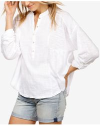 Lucky Brand - White Mixed-media Henley Top - Lyst