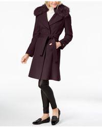 T Tahari - Multicolor Faux-fur-trim Belted Wrap Coat - Lyst