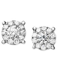 Macy's - Multicolor Diamond Circle Stud Earrings In 14k White Gold (1-1/4 Ct. T.w.) - Lyst