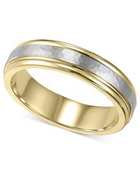 Macy's   Metallic Men's 14k Gold And 14k White Gold Ring, Two-tone Hammered Wedding Band   Lyst