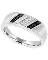 Macy's - Metallic Men's Diamond Diagonal Ring (1/4 Ct. T.w.) In Sterling Silver - Lyst