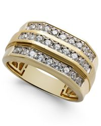 Macy's - Metallic Men's Diamond Three-row Ring (1 Ct. T.w.) In 10k Gold for Men - Lyst