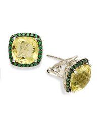 Macy's | Metallic Sterling Silver Earrings, Lemon Quartz (7 Ct. T.w.) And Green Swarovski Zirconia (3/4 Ct. T.w.) Square Earrings | Lyst