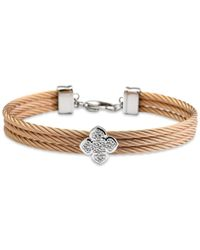 Charriol Metallic Le Fleur Silver Bangle With White Topaz In Stainless Steel And Rose Gold