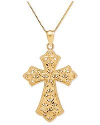 Macy's - Metallic Filigree Cross Pendant Necklace In 14k Gold - Lyst