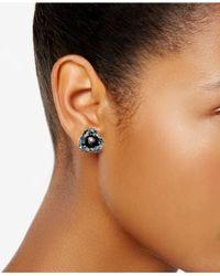 Betsey Johnson Black Crystal Stud Earrings
