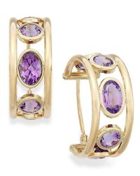 Macy's - Metallic 10k Gold Earrings, Amethyst Hoop Earrings (2-1/2 Ct. T.w.) - Lyst