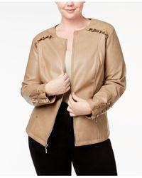 Alfani Multicolor Plus Size Ruffle-trim Faux-leather Jacket