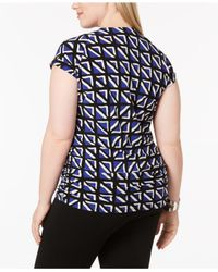 Anne Klein - Blue Plus Size Printed Cap-sleeve Top - Lyst