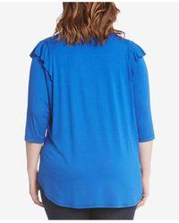 Karen Kane Blue Plus Size Ruffle-trim Top