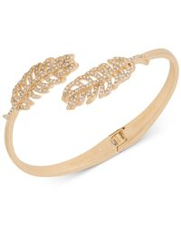Lonna & Lilly - Metallic Gold-tone Pavé Feather Hinge Bangle Bracelet - Lyst