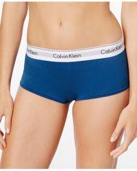 Calvin Klein - Blue Modern Cotton Logo Boyshort F3788 - Lyst