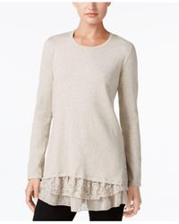 Style & Co. - Multicolor Petite Mixed-media Tunic - Lyst